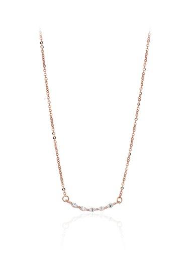 0,25 Ct Pırlanta Efekt Altın Markiz  Roz Kolye-Tophills Diamond Co.